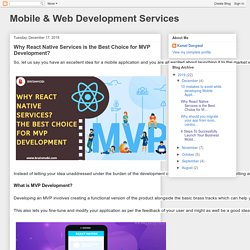 Mobile & Web Development Services: Why React Native Services is the Best Choice for MVP Development?