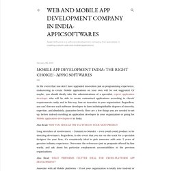 Mobile app development India: The right choice! - Appic Softwares