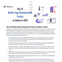 Top 12 Mobile App Development Trends to follow in 2021 -