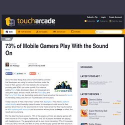 73% of Mobile Gamers Play With the Sound On
