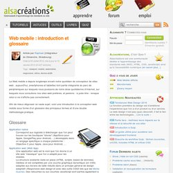 Web mobile : introduction et glossaire