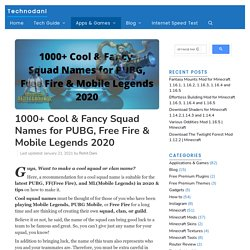 1000+ Cool & Fancy Squad Names For PUBG, Free Fire & Mobile Legends 2020 - Technodani