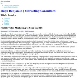 Mobile Video Marketing to Soar in 2016