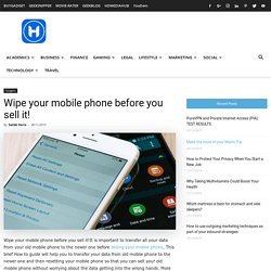 Wipe your mobile phone before you sell it! - HowToCrazy