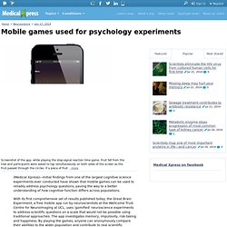 Mobile games used for psychology experiments