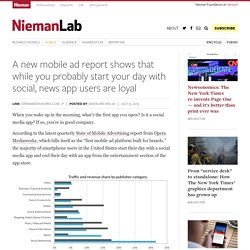 A new mobile ad report shows that while you probably start your day with social, news app users are loyal