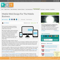 Mobile Web Design For The Mobile Business
