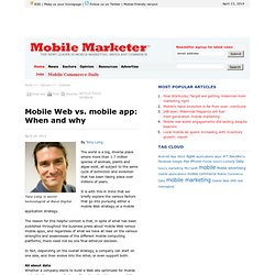 Mobile Web vs. mobile app: When and why