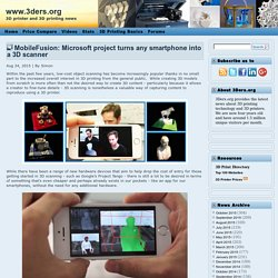MobileFusion: Microsoft project turns any smartphone into a 3D scanner