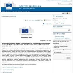 European Commission - PRESS RELEASES - Press release - La Commission européenne adopte un «accord de partenariat» avec l'Allemagne sur la mobilisation des Fonds structurels et d'investissement de l'UE en faveur de la croissance et de l'emploi pour la péri