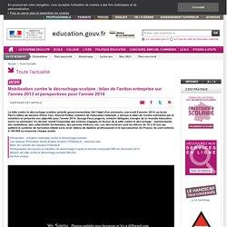 Mobilisation contre le décrochage scolaire : bilan 2013 et perspectives 2014
