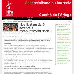Mobilisation du 9 octobre : réchauffement social