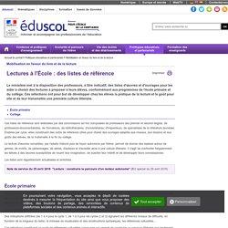 Mobilisation en faveur du livre et de la lecture - Lectures à l'École : des listes de référence