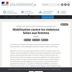 Mobilisation contre les violences faites aux femmes - Compte rendu du Conseil des ministres du 23 novembre 2016