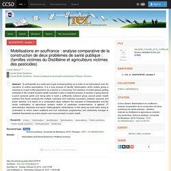 Université de Bordeaux - 2015 - Thèse en ligne : Mobilisations en souffrance : analyse comparative de la construction de deux problèmes de santé publique : (familles victimes du Distilbène et agriculteurs victimes des pesticides)