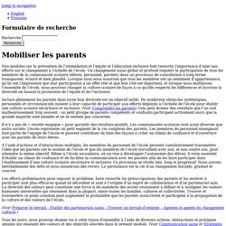 Mobiliser les parents