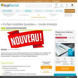 « Forfait mobilités durables » : mode d'emploi LégiSocial