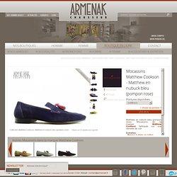 Mocassins matthew cookson - matthew en nubuck bleu (pompon rose) Acheter chaussures homme femme en ligne - Armenak