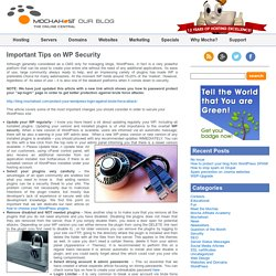 MochaHost's Blog » Blog Archive » Important Tips on WP Security