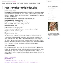 Mod_Rewrite – Hide index.php