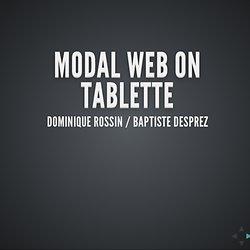 Modal Web sur Tablette