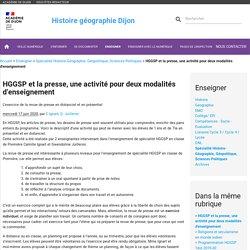 HGGSP et la presse, une activité pour deux modalités d'enseignement