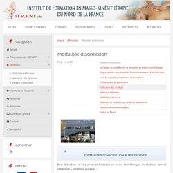 Modalités d'admission - IFMKNF - Institut de formation en masso-kinésithérapie du nord de la France