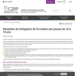[Hauts-de-France] Modalités de l'obligation de formation des jeunes de 16 à 18 ans