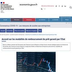 Accord sur les modalités de remboursement du prêt garanti par l'Etat - Ministère de l'Economie et des finances - 8 septembre 2020