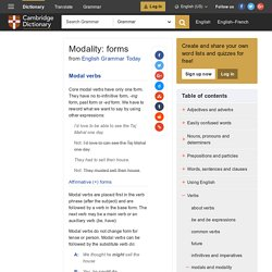 Modality: forms - English Grammar Today - Cambridge Dictionary