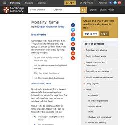 Modality: forms - English Grammar Today - Cambridge Dictionary