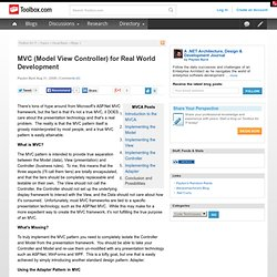 MVC (Model View Controller) for Real World Development