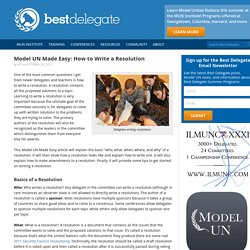 Model UN Made Easy: How to Write a Resolution