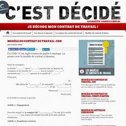 Modèle de contrat de travail : CDD