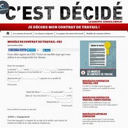 Modèle de contrat de travail : CDI