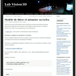 Modèle de thèse et mémoire en LaTex
