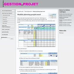 Modèle de planning projet avec Excel