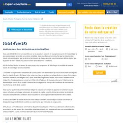 Modele statut SAS