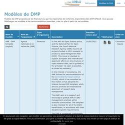 Modèles de gestion de données mises en avant par OPIDoR