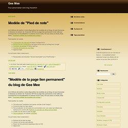Modèles, images et CSS : Gee Mee