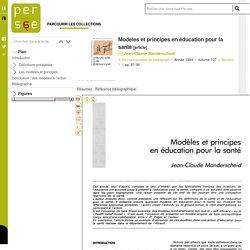 Modèles et principes en éducation pour la santé