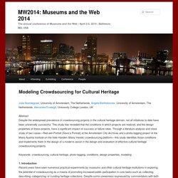 Modeling Crowdsourcing for Cultural Heritage