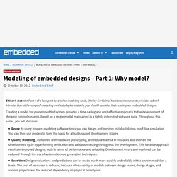 Modeling of embedded designs - Part 1: Why model?