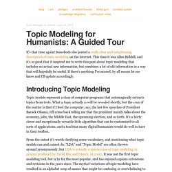 Topic Modeling for Humanists: A Guided Tour – the scottbot irregular