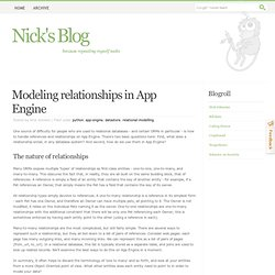 Modeling relationships in App Engine