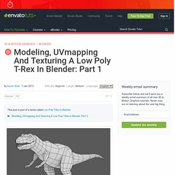 Modeling, UVmapping And Texturing A Low Poly T-Rex In Blender: Part 1