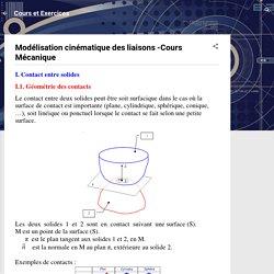 Modélisation cinématique des liaisons -Cours Mécanique