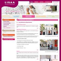 Lisaa Paris Ecole de Mode Stylisme Textile Modélisme : Admission et règlement