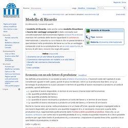 Modello di Ricardo - Wikiversità