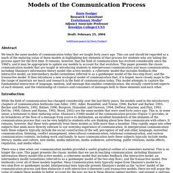 Models of the Communication Process